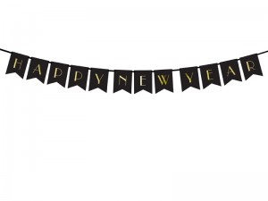 Baner Happy New Year, czarny, 15 x 170 cm